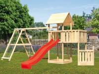 Akubi Spielturm Lotti + Schiffsanbau unten + Anbauplattform + Doppelschaukel mit Klettergerüst + Rutsche rot
