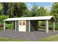 Karibu Gartenhaus Espelo 7 in terragrau mit zwei Dachausbauelementen 3,40 m
