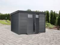 Wolff Finnhaus Metall-Gerätehaus Eleganto 3330 Granitgrau inkl. Dachrinne und Fallrohr