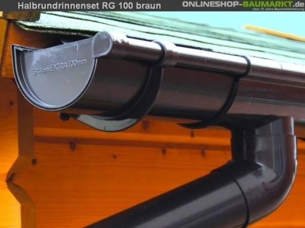 Dachrinnen Set RG 100 braun 300 cm zweiseitig