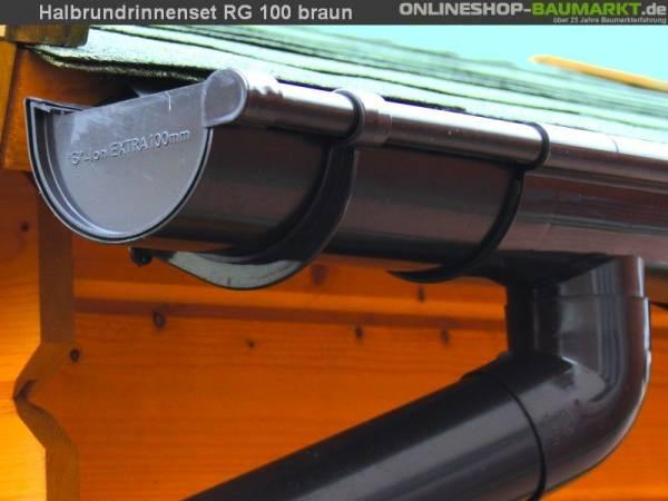 Dachrinnen Set RG 100 Ergänzungsset Anbau braun