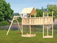 Akubi Spielturm Lotti Satteldach + Schiffsanbau oben + Einzelschaukel + Anbauplattform XL