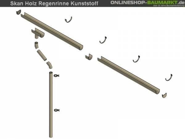 Skan Holz Regenrinne für Flachdach-Carport 600 cm, braun, Kunststoff