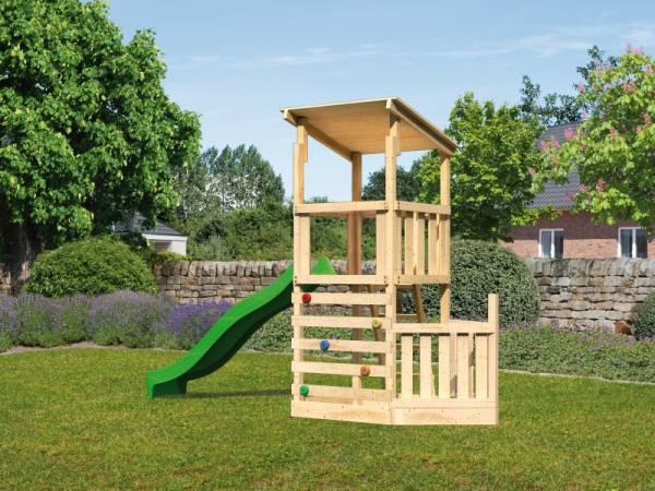 Akubi Spielturm Anna + Rutsche grün + Kletterwand + Schiffsanbau unten