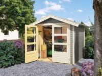 Karibu Gartenhaus Harburg 3 in seidengrau mit moderner Tür