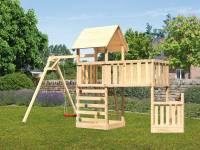 Akubi Spielturm Lotti + Schiffsanbau unten + Anbauplattform XL + Einzelschaukel + Kletterwand