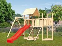Akubi Spielturm Lotti Satteldach + Schiffsanbau oben + Anbauplattform + Einzelschaukel + Netzrampe + Rutsche in rot