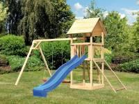 Akubi Spielturm Lotti mit Doppelschaukel, Netzrampe und Rutsche blau