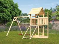 Akubi Spielturm Lotti Satteldach + Schiffsanbau oben + Doppelschaukel + Netzrampe