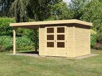 Karibu Woodfeeling Gartenhaus Askola 3,5 mit Anbaudach 2,25 Meter