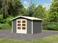 Karibu Woodfeeling Gartenhaus Amberg 5 terragrau