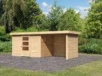 Karibu Woodfeeling Gartenhaus Oburg 4 natur mit Anbaudach 2,4 Meter inkl. Rück- und Seitenwand