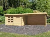 Karibu Woodfeeling Gartenhaus Bastrup 8 mit Anbaudach 4 Meter inkl. Rückwand