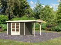 Karibu Woodfeeling Gartenhaus Askola 4 in terragrau mit Anbaudach 1,5 Meter
