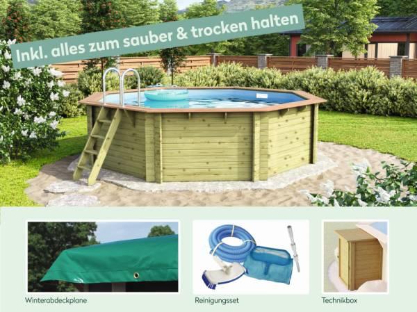 Wolff Finnhaus Pool Modell B inkl. Abdeckplane, Technikbox und Reinigungsset