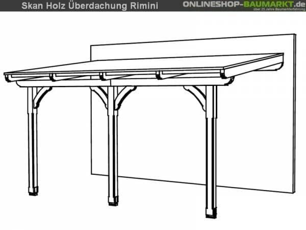 Skan Holz Terrassenüberdachung Rimini 434 x 300 cm Douglasie