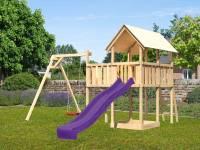 Akubi Spielturm Danny Satteldach + Rutsche violett + Einzelschaukel