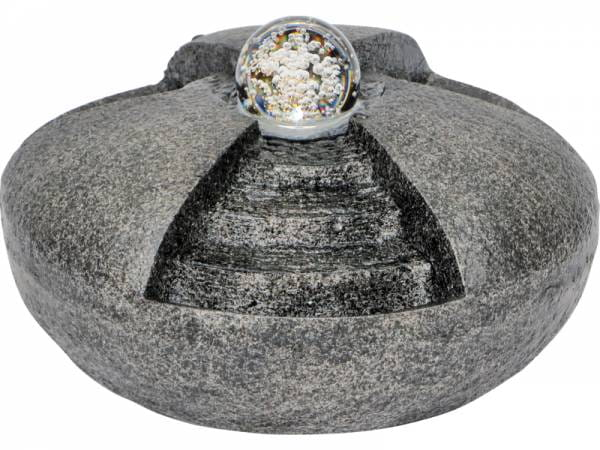 Granimex Kaidan- 3er Treppenkaskade mit Glaskugel (10cm) inkl. LED-Beleuchtung & Pumpe