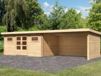 Karibu Gartenhaus Bastrup 10 inkl. Fußboden und Anbaudach 4 m inkl. Rück- und Seitenwand