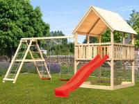 Akubi Spielturm Luis Satteldach + Rutsche rot + Doppelschaukelanbau Klettergerüst