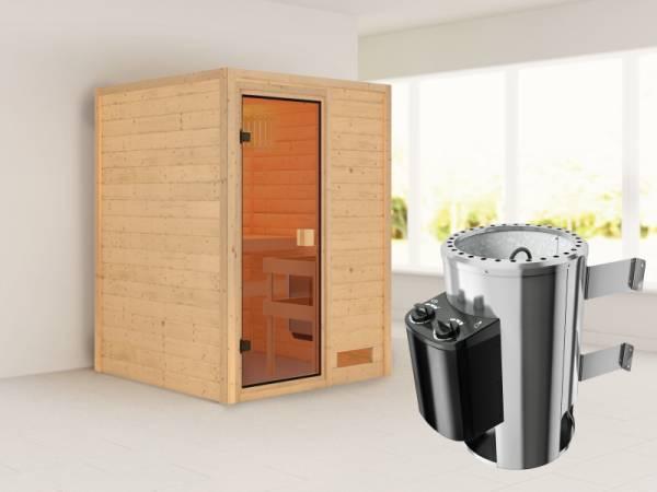 Nadja - Karibu Sauna Plug & Play inkl. 3,6 kW-Ofen - ohne Dachkranz -