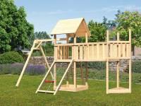 Akubi Spielturm Lotti Satteldach + Schiffsanbau oben + Einzelschaukel + Anbauplattform XL + Netzrampe