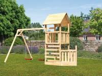 Akubi Spielturm Lotti + Schiffsanbau unten + Doppelschaukel + Kletterwand