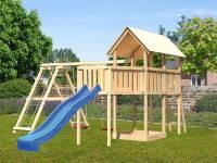 Akubi Spielturm Danny Satteldach + Rutsche blau + Doppelschaukelanbau Klettergerüst + Anbauplattform XL