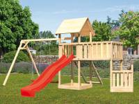 Akubi Spielturm Lotti + Schiffsanbau unten + Anbauplattform XL + Netzrampe + Doppelschaukel + Rutsche rot