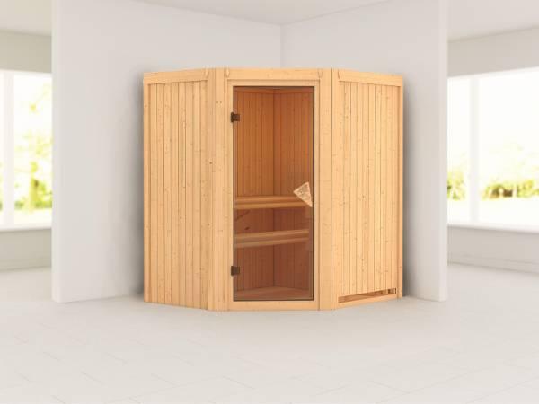 Karibu Sauna Taurin ohne Ofen, ohne Dachkranz, mit Saunatür classic
