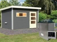 Karibu Saunahaus Skrollan 2 in terragrau- 9 kW Ofen ext. Strg- moderne Tür