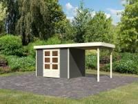 Karibu Woodfeeling Gartenhaus Askola 5 mit Anbaudach 2,40 Meter terragrau