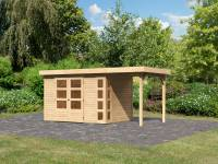 Karibu Woodfeeling Gartenhaus Kerko 4 natur mit Anbaudach 1,5 m