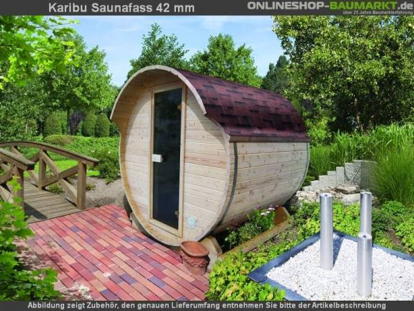 Karibu Fass - Sauna 1 42 mm ohne Ofen - Sparset - inkl. Dachschindeln