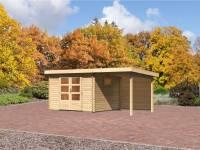 Karibu Aktions Gartenhaus Rastede 3 mit Dacheindeckung, Fußboden und Anbaudach 2,2 m inkl. Rückwand