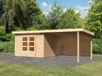 Karibu Woodfeeling Gartenhaus Kandern 6,5 mit Anbaudach 3,2 Meter inkl. Rückwand