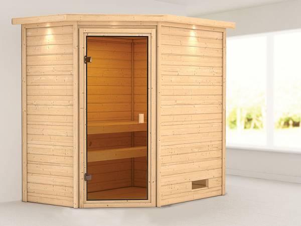 Karibu Woodfeeling Sauna Jella mit Dachkranz 38 mm