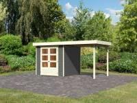 Karibu Woodfeeling Gartenhaus Askola 3,5 mit Anbaudach 2,40 Meter terragrau