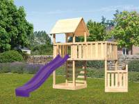 Akubi Spielturm Lotti + Schiffsanbau unten + Anbauplattform XL + Kletterwand + Rutsche violett