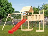 Akubi Spielturm Lotti Satteldach + Schiffsanbau oben + Anbauplattform + Doppelschaukel + Rutsche in rot