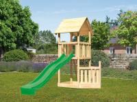 Akubi Spielturm Lotti Satteldach + Rutsche grün + Schiffsanbau unten