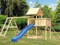 Akubi Spielturm Lotti Satteldach + Rutsche blau + Doppelschaukelanbau Klettergerüst + Anbauplattform + Netzrampe