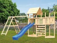 Akubi Spielturm Lotti Satteldach + Schiffsanbau oben + Anbauplattform + Doppelschaukel mit Klettergerüst + Kletterwand + Rutsche in blau