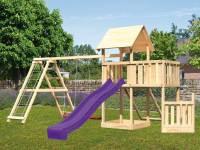 Akubi Spielturm Lotti + Schiffsanbau unten + Anbauplattform + Netzrampe + Doppelschaukel mit Klettergerüst + Rutsche violett