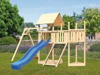 Akubi Spielturm Lotti Satteldach + Schiffsanbau oben + Anbauplattform + Einzelschaukel + Netzrampe + Rutsche in blau