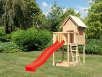 Akubi Spielhaus Frieda mit Anbau und Rutsche in rot