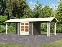 Karibu Woodfeeling Gartenhaus Tastrup 3 in terragrau mit 2 Dachanbauten 2,40 Meter