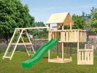 Akubi Spielturm Lotti + Schiffsanbau unten + Anbauplattform + Doppelschaukel mit Klettergerüst + Rutsche grün