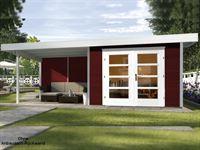 Weka Gartenhaus 126 B Plus Gr. 2 schwedenrot mit Anbaudach 300 cm