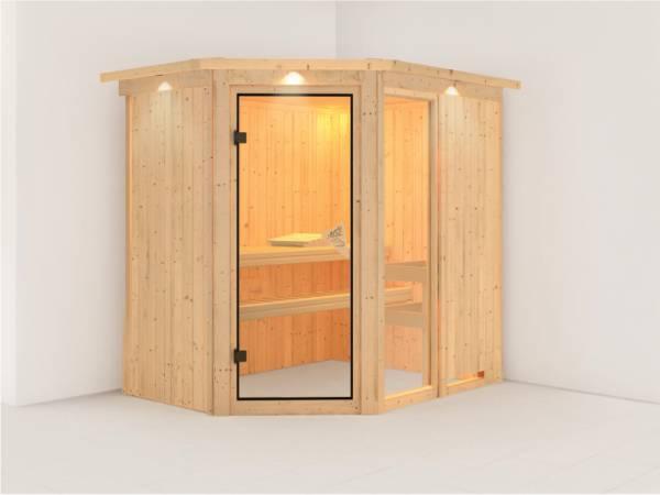 Fiona 1 - Karibu Sauna ohne Ofen - mit Dachkranz -